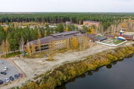 Tyumen, Russia - September 29, 2015: Sosnoviy Bor sanatorium. Spa procedures in indoor and outdoor pools with hot mineral water