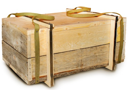 Wooden box with handles container isolated white