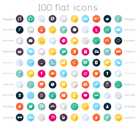 Set of 100 flat icons ( music icons, education icons, business icons, shopping icons, communication icons, food and drink icons, medical icons, web tools icons, ecology icons, vacation icons )のイラスト素材