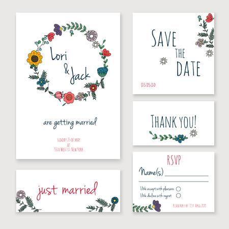 Foto de Wedding invitation card set. Thank you card, save the date cards, RSVP card, just married card. - Imagen libre de derechos