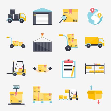 Set of flat warehouse icons logistic blank and transportation, storage vector illustration.