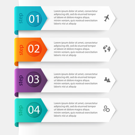 Vector colorful info graphics for your business presentations. Can be used for info graphics, graphic or website layout vector, numbered banners, diagram, horizontal cutout lines, web design.