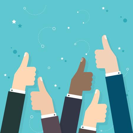 Illustration pour Business  people holding many thumbs thumbs up. Business flat vector illustration. - image libre de droit