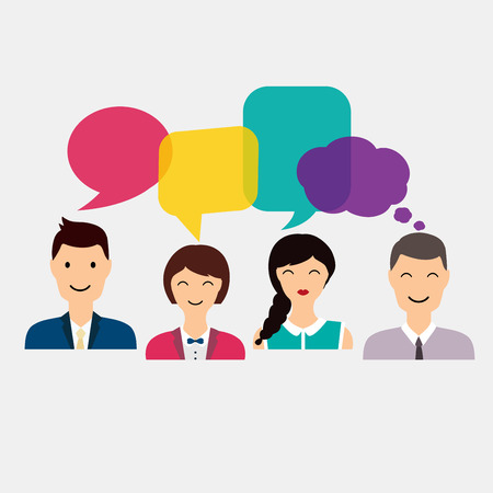 Illustration for People icons with colorful dialog speech. Social Network and Social Media Concept. Business flat vector illustration. - Royalty Free Image