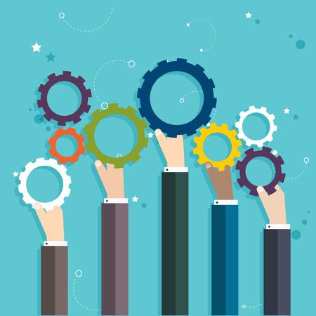 Illustration pour Concept of teamwork and integration with businessman holding colorful cogwheel - image libre de droit
