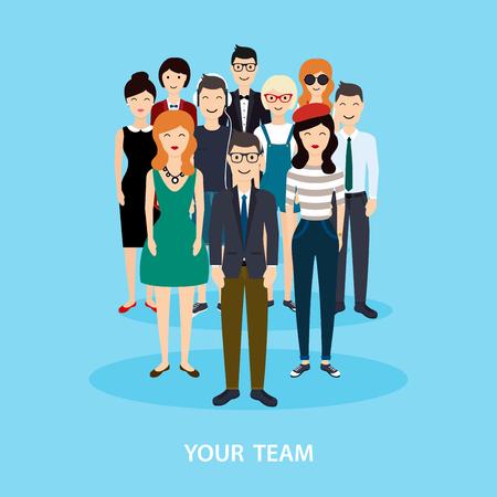 Ilustración de Business Team. Teamwork. Social Network and Social Media Concept. Business flat vector illustration. - Imagen libre de derechos