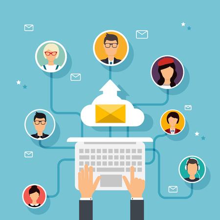 Vektor für Running campaign, email advertising, direct digital marketing. Email marketing. Set of people avatars and icons. Flat design style modern vector illustration concept. - Lizenzfreies Bild
