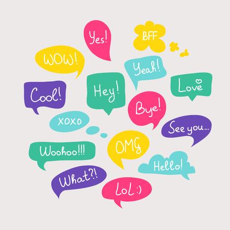 Illustration pour Colorful questions speech bubbles set in flat design with short messages. - image libre de droit
