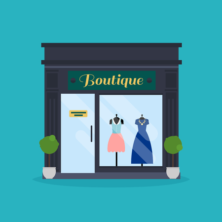 Ilustración de Fashion boutique facade. Clothes shop. Ideal for market business web publications and graphic design. - Imagen libre de derechos