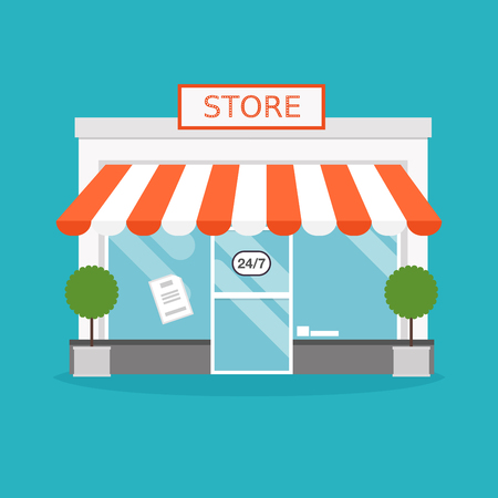 Ilustración de Store facade. Vector illustration of store building. Ideal for business web publications and graphic design. Flat style vector illustration. - Imagen libre de derechos