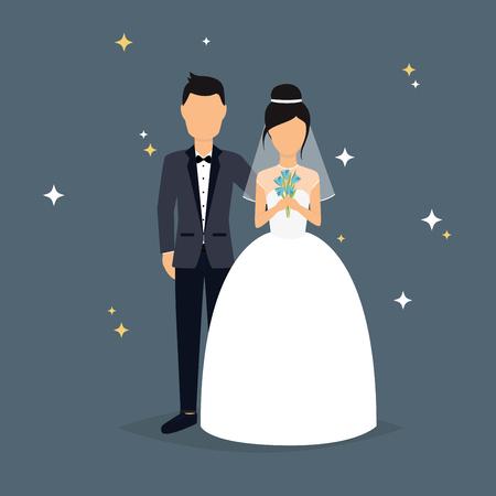 Illustration for Bride and groom. Wedding design over grey background. Vector illustration. - Royalty Free Image