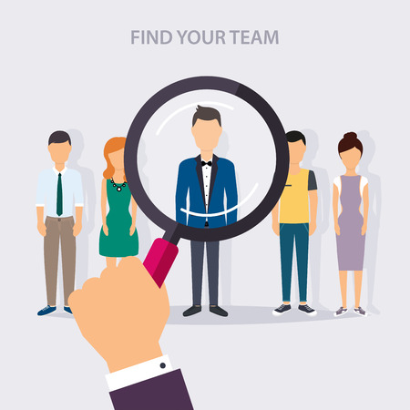 Illustration pour Job search and career. Human resources management and head hunter searching. Social Network and Social Media Concept. Business flat vector illustration. - image libre de droit
