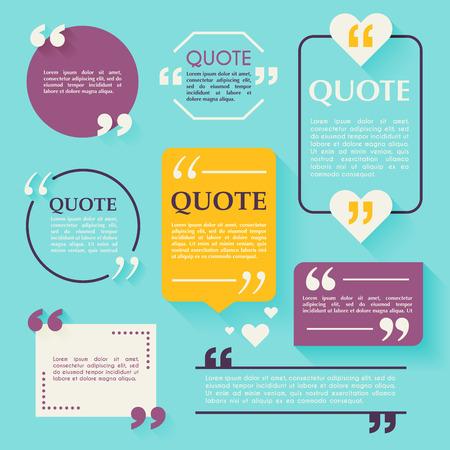 Illustration pour Quote blank template. Design elements, circle business card template, paper sheet, information, text. Quote template for your design. - image libre de droit
