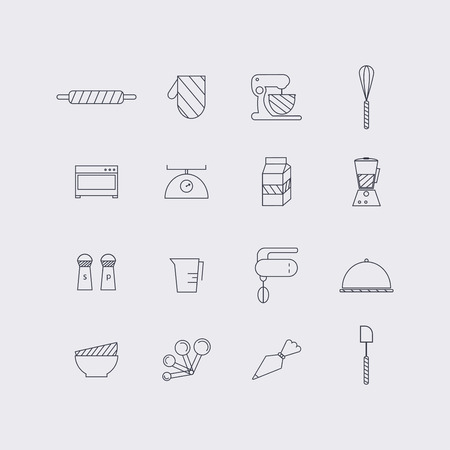 Line icons set in flat design. Elements of Cooking Foods and Kitchen outline and baking. Modern infographic linear vector illustration.