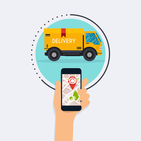 Illustration for Hand holding mobile smart phone with mobile app delivery tracking. Vector modern flat creative info graphics design on delivery tracking application. Flat design modern vector illustration concept. - Royalty Free Image