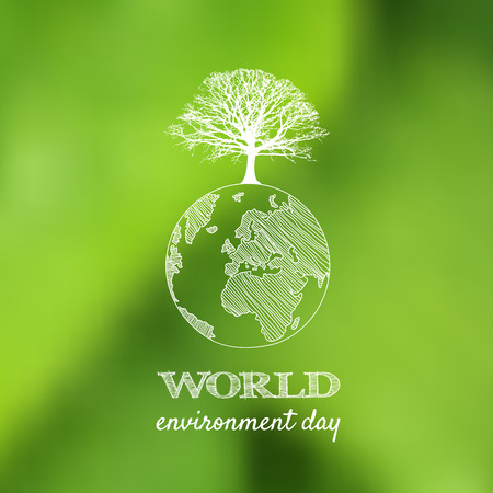World environment day vector card, poster on blur green background. Vector illustration.