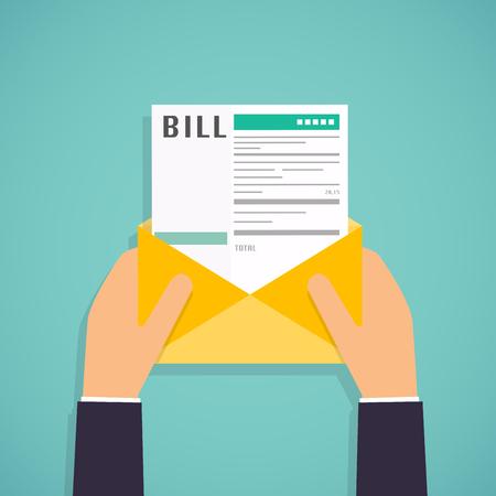 Ilustración de Hands holding mail with Paying bills. Payment of utility, bank, restaurant and other. Flat design modern vector illustration concept. - Imagen libre de derechos