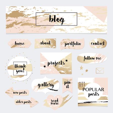 Illustration pour A set of blog design elements kit. Frames, dividers, decorative elements. - image libre de droit