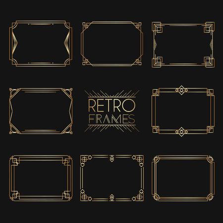 Ilustración de Gold retro frames. Style of 1920s. Collection of golden premium promo seals/stickers. - Imagen libre de derechos