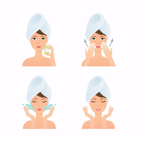 Illustration pour Face care routine. Girl Cleaning And Care Her Face. Steps how to apply cleansing gel. Skincare vector. - image libre de droit