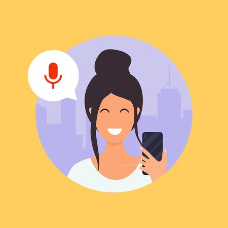 Illustration pour Woman talking on the phone with the digital voice assistant. Flat design modern vector illustration concept. - image libre de droit