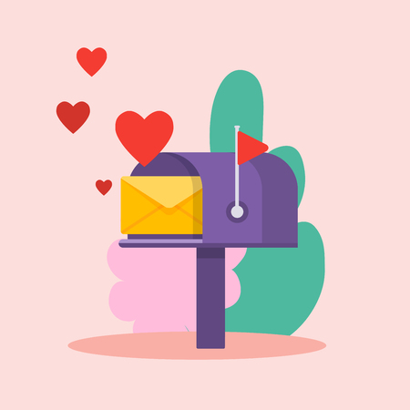Illustration pour Love letter and red hearts. Online newsletter vector template with mailbox. - image libre de droit