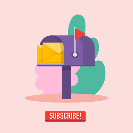Illustration pour Email subscribe, mailbox and submit button. Online newsletter vector template. - image libre de droit