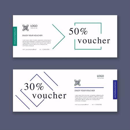 Illustration pour Voucher template with color gift box, certificate. Background design coupon, invitation, currency. Vector illustration. - image libre de droit