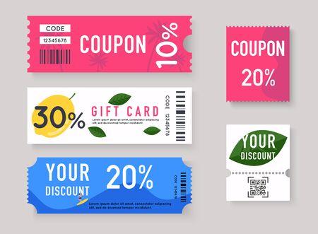 Illustration pour Vector Gift Voucher with Coupon Code. Sale labels with discount numbers. - image libre de droit