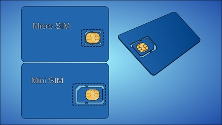 Sim card with carrier on a blue background
