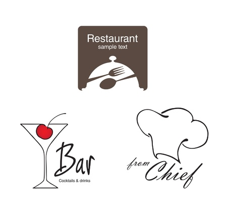 Labels set. Elements of corporate identity, food and drink industry.