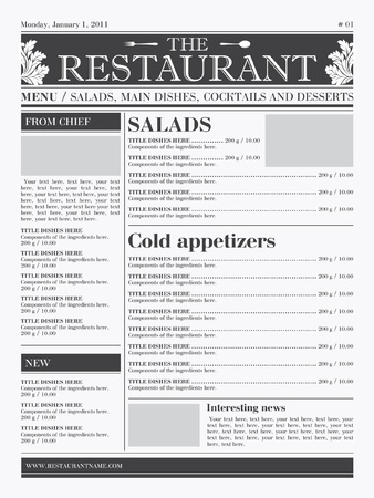 Restaurant menu design. Ready concept, the type of newspaper, black & white