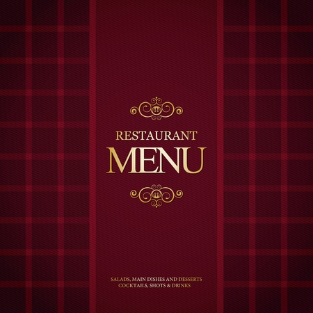 Restaurant menu design, with trendy plaid background