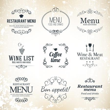 Label set for restaurant menu design