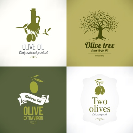 Set of olive labelsのイラスト素材