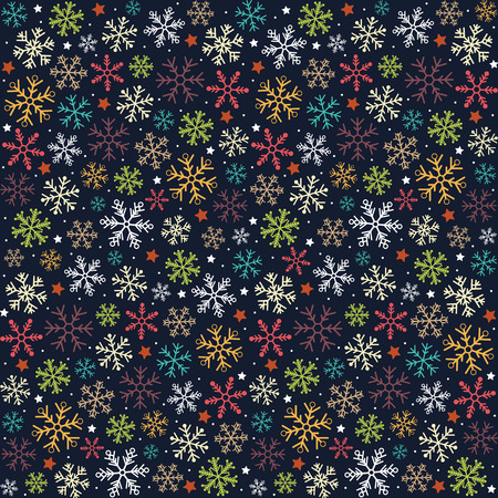 Christmas and New Year. Bright flat snowflakes background