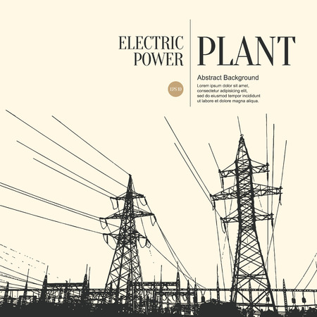 Abstract sketch stylized background. Electric power plant