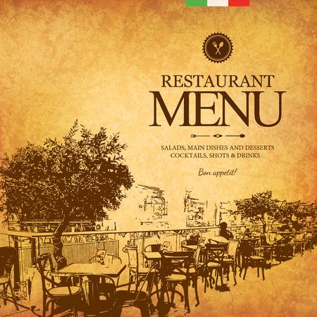 Illustration pour Retro restaurant menu design. With a sketch pictures - image libre de droit
