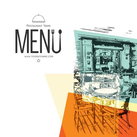 Vektor für Retro restaurant menu design. With a sketch pictures - Lizenzfreies Bild
