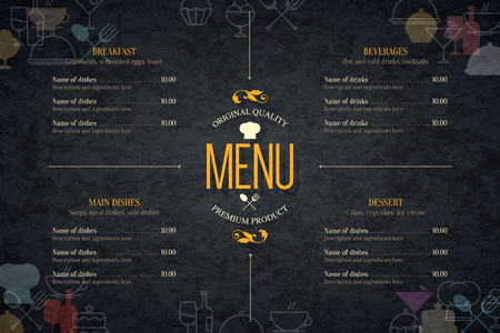 Illustrazione per Restaurant menu design. - Immagini Royalty Free