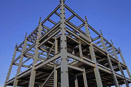 Photo for In the construction site, steel structure is under construction - Royalty Free Image