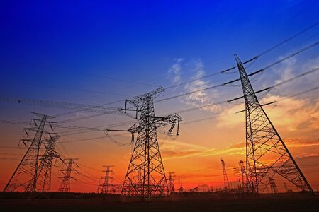 Photo for Electric tower, silhouette at sunset - Royalty Free Image