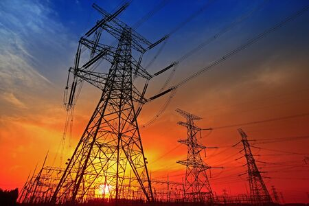 Photo pour  Electric tower, silhouette at sunset   - image libre de droit
