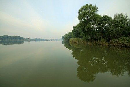 river scenery, plants and trees, northern china.