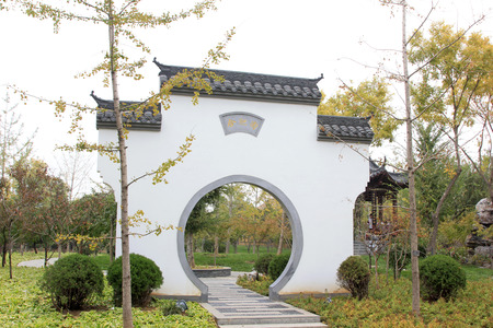 BEIJING - OCTOBER 23: gloriously enrolled architectural landscape in park, on october 23, 2014, Beijing, China.