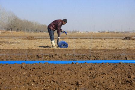 farmers are irrigating farmland, preparing farming, Luannan, Hebei, China
