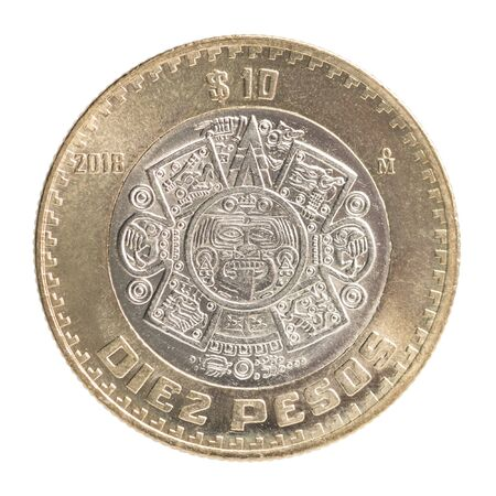 Foto de Ten Mexican Peso coin with the image of a stone of the Sun with a mask of God Tonatiu isolated on a white background - Imagen libre de derechos