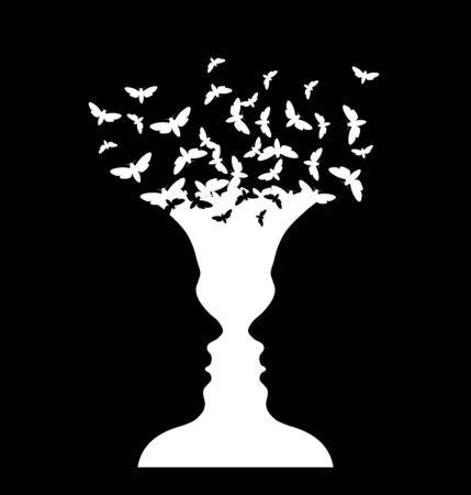 Illustration pour Rubin vase and moth, optical illusion, head girl - image libre de droit
