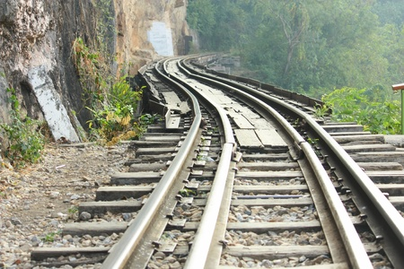 dying railway tracks in period world war 2 of thailand