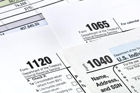 Tax forms 1040,1120,1065  U S Income Tax Return